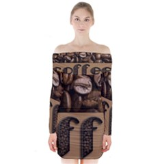 Funny Coffee Beans Brown Typography Long Sleeve Off Shoulder Dress