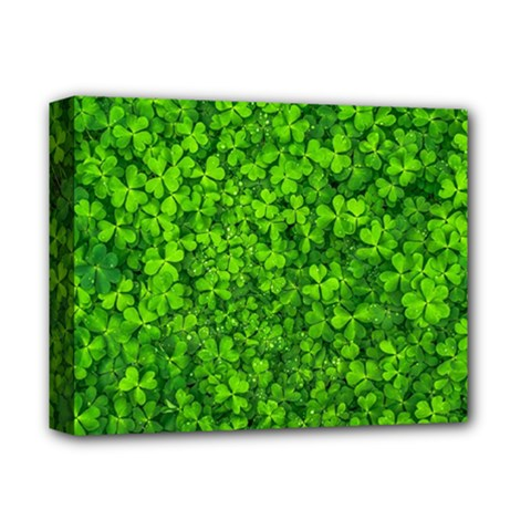 Shamrock Clovers Green Irish St  Patrick Ireland Good Luck Symbol 8000 Sv Deluxe Canvas 14  X 11