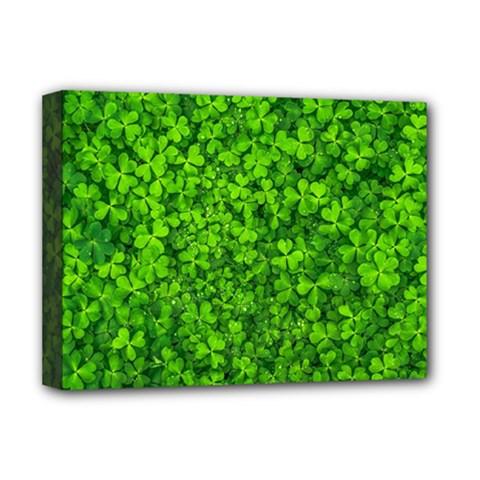 Shamrock Clovers Green Irish St  Patrick Ireland Good Luck Symbol 8000 Sv Deluxe Canvas 16  X 12