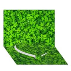 Shamrock Clovers Green Irish St  Patrick Ireland Good Luck Symbol 8000 Sv Heart Bottom 3D Greeting Card (7x5)