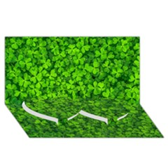 Shamrock Clovers Green Irish St  Patrick Ireland Good Luck Symbol 8000 Sv Twin Heart Bottom 3d Greeting Card (8x4)