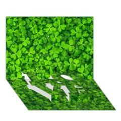 Shamrock Clovers Green Irish St  Patrick Ireland Good Luck Symbol 8000 Sv Love Bottom 3d Greeting Card (7x5)