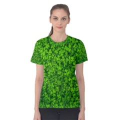 Shamrock Clovers Green Irish St  Patrick Ireland Good Luck Symbol 8000 Sv Women s Cotton Tee