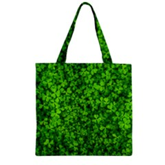 Shamrock Clovers Green Irish St  Patrick Ireland Good Luck Symbol 8000 Sv Zipper Grocery Tote Bag