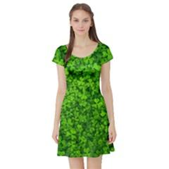 Shamrock Clovers Green Irish St  Patrick Ireland Good Luck Symbol 8000 Sv Short Sleeve Skater Dress
