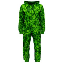 Shamrock Clovers Green Irish St  Patrick Ireland Good Luck Symbol 8000 Sv Hooded Jumpsuit (ladies)