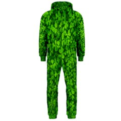 Shamrock Clovers Green Irish St  Patrick Ireland Good Luck Symbol 8000 Sv Hooded Jumpsuit (men)