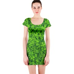 Shamrock Clovers Green Irish St  Patrick Ireland Good Luck Symbol 8000 Sv Short Sleeve Bodycon Dress