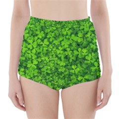 Shamrock Clovers Green Irish St  Patrick Ireland Good Luck Symbol 8000 Sv High Waisted Bikini Bottoms