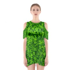 Shamrock Clovers Green Irish St  Patrick Ireland Good Luck Symbol 8000 Sv Cutout Shoulder Dress