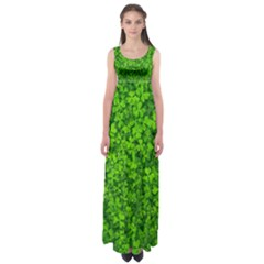 Shamrock Clovers Green Irish St  Patrick Ireland Good Luck Symbol 8000 Sv Empire Waist Maxi Dress
