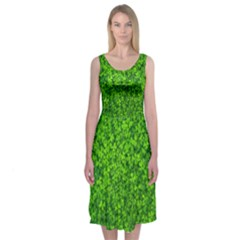 Shamrock Clovers Green Irish St  Patrick Ireland Good Luck Symbol 8000 Sv Midi Sleeveless Dress