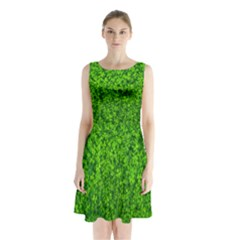 Shamrock Clovers Green Irish St  Patrick Ireland Good Luck Symbol 8000 Sv Sleeveless Chiffon Waist Tie Dress
