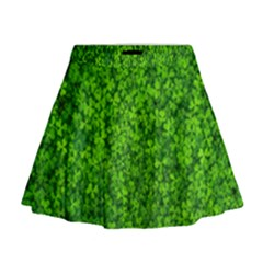 Shamrock Clovers Green Irish St  Patrick Ireland Good Luck Symbol 8000 Sv Mini Flare Skirt