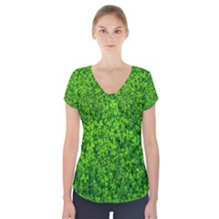 Shamrock Clovers Green Irish St  Patrick Ireland Good Luck Symbol 8000 Sv Short Sleeve Front Detail Top