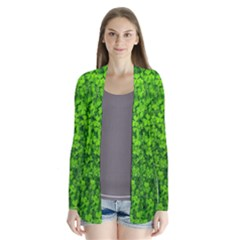 Shamrock Clovers Green Irish St  Patrick Ireland Good Luck Symbol 8000 Sv Drape Collar Cardigan
