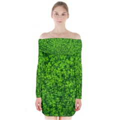Shamrock Clovers Green Irish St  Patrick Ireland Good Luck Symbol 8000 Sv Long Sleeve Off Shoulder Dress