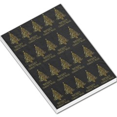 Merry Christmas Tree Typography Black And Gold Festive Large Memo Pads