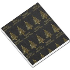 Merry Christmas Tree Typography Black And Gold Festive Small Memo Pads