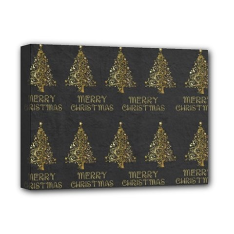 Merry Christmas Tree Typography Black And Gold Festive Deluxe Canvas 16  x 12