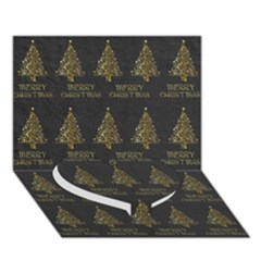 Merry Christmas Tree Typography Black And Gold Festive Heart Bottom 3d Greeting Card (7x5)