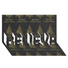 Merry Christmas Tree Typography Black And Gold Festive BELIEVE 3D Greeting Card (8x4)
