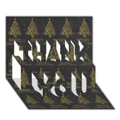 Merry Christmas Tree Typography Black And Gold Festive THANK YOU 3D Greeting Card (7x5)