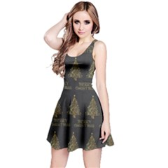 Merry Christmas Tree Typography Black And Gold Festive Reversible Sleeveless Dress