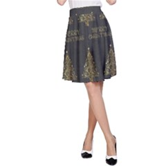 Merry Christmas Tree Typography Black And Gold Festive A-Line Skirt