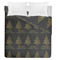 Merry Christmas Tree Typography Black And Gold Festive Duvet Cover Double Side (queen Size)