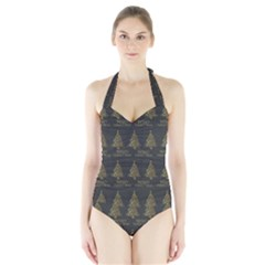 Merry Christmas Tree Typography Black And Gold Festive Halter Swimsuit