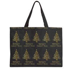 Merry Christmas Tree Typography Black And Gold Festive Zipper Large Tote Bag