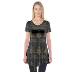 Merry Christmas Tree Typography Black And Gold Festive Short Sleeve Tunic