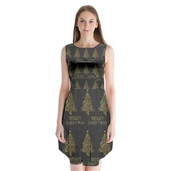 Merry Christmas Tree Typography Black And Gold Festive Sleeveless Chiffon Dress