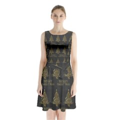 Merry Christmas Tree Typography Black And Gold Festive Sleeveless Chiffon Waist Tie Dress