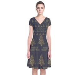 Merry Christmas Tree Typography Black And Gold Festive Short Sleeve Front Wrap Dress