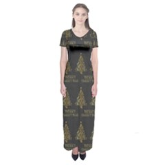 Merry Christmas Tree Typography Black And Gold Festive Short Sleeve Maxi Dress