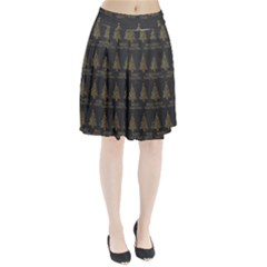 Merry Christmas Tree Typography Black And Gold Festive Pleated Skirt