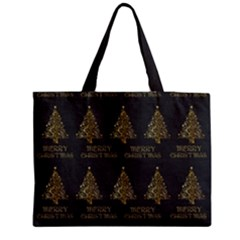 Merry Christmas Tree Typography Black And Gold Festive Medium Zipper Tote Bag