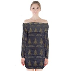 Merry Christmas Tree Typography Black And Gold Festive Long Sleeve Off Shoulder Dress