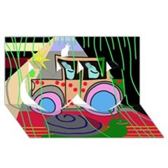Tractor Twin Hearts 3D Greeting Card (8x4)