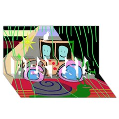 Tractor BEST SIS 3D Greeting Card (8x4)