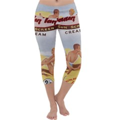 Vintage Summer Sunscreen Advertisement Capri Yoga Leggings