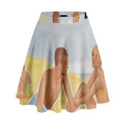 Vintage Summer Sunscreen Advertisement High Waist Skirt