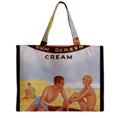 Vintage Summer Sunscreen Advertisement Medium Zipper Tote Bag