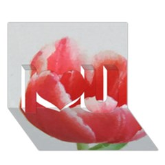 Red Tulip Watercolor Painting I Love You 3D Greeting Card (7x5)