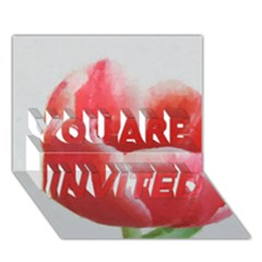 Red Tulip Watercolor Painting YOU ARE INVITED 3D Greeting Card (7x5)