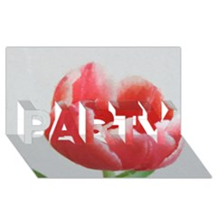Red Tulip Watercolor Painting PARTY 3D Greeting Card (8x4)