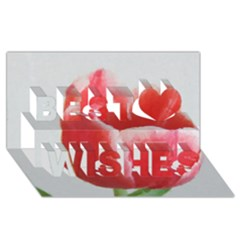 Red Tulip Watercolor Painting Best Wish 3D Greeting Card (8x4)