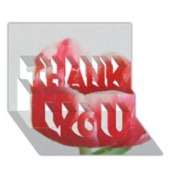 Red Tulip Watercolor Painting THANK YOU 3D Greeting Card (7x5)